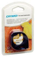 DYMO S0718850 LetraTag Band aufbügelbar, 12mm x 2m, weiss auf schwarz