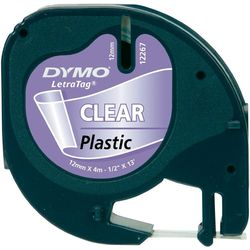 DYMO S0721550 LetraTag Schrifband Plastik, 12mm x 4m, schwarz auf transp.