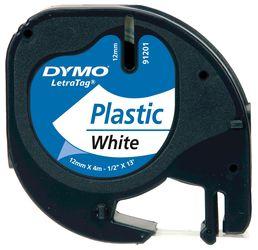 DYMO S0721660 LetraTag Schrifband Plastik, 12mm x 4m, schwarz auf weiss