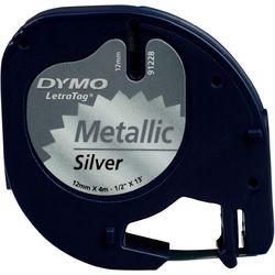 DYMO S0721750 LetraTag Schrifband Plastik, 12mm x 4m, schwarz auf silbermet.