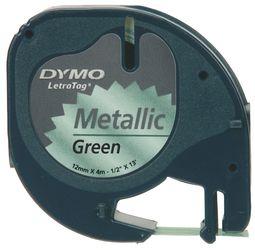 DYMO S0721760 LetraTag Schrifband Plastik, 12mm x 4m, schwarz auf grünmetallic