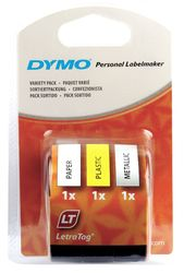 DYMO S0721800 LetraTag Schrifband, 3er Starter Pack