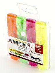 Pfeiffer Highlighters 4er Pack (Gelb, Pink, Orange, Grün)